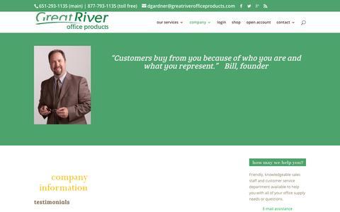 Screenshot of Testimonials Page greatriverofficeproducts.com - testimonials – Great River Office Products - captured Dec. 13, 2015