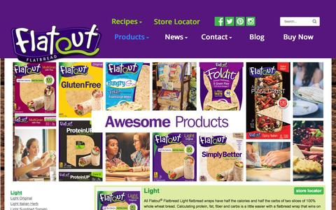 Screenshot of Products Page flatoutbread.com - Flatout Bread Products – Better Than Sliced Bread - captured Feb. 8, 2016