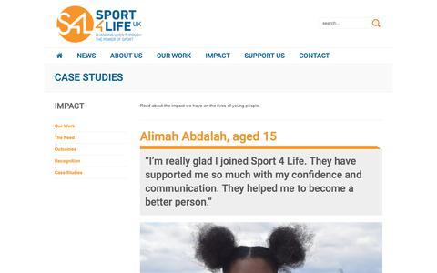 Screenshot of Case Studies Page sport4life.org.uk - Impact Stories - Sport 4 Life UK - captured Nov. 16, 2018