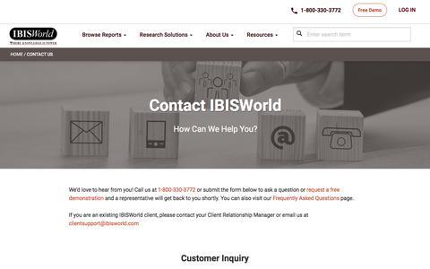 Screenshot of Contact Page ibisworld.com captured June 29, 2019