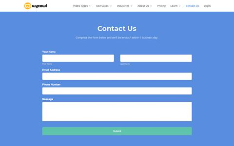 Screenshot of Contact Page wyzowl.com - Contact Us | Wyzowl - captured March 9, 2018
