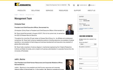 Screenshot of Team Page kennametal.com - Management Team - captured March 15, 2018