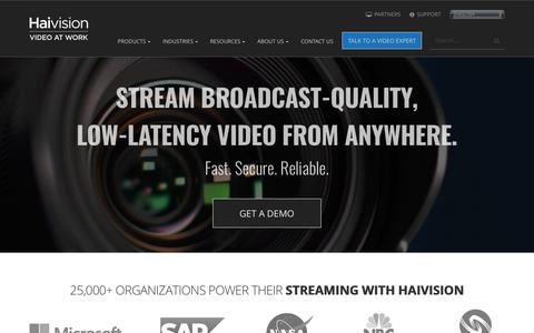 Screenshot of Home Page haivision.com - HAIVISION :: Enterprise Video Streaming & IPTV Solutions - captured Nov. 15, 2018