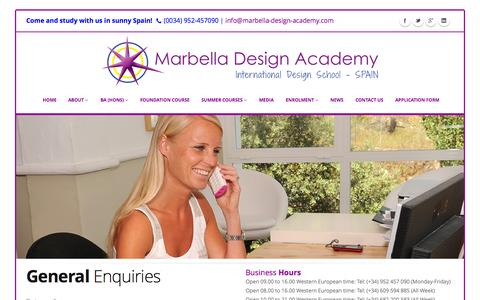 Screenshot of Contact Page designschool.com - General Enquiries - Contact Us | Marbella Design Academy - captured Oct. 27, 2014