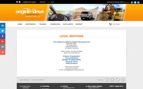 Screenshot of About Page Terms Page aegide-drive.com - Legal mentions - captured April 2, 2016