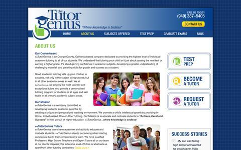 Screenshot of About Page thetutorgenius.com - Tutor Genius : A Tutoring Center : Tutor Franchise - captured Oct. 9, 2014