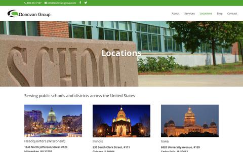 Screenshot of Locations Page donovan-group.com - Locations | Donovan Group School Communications - captured Oct. 9, 2018