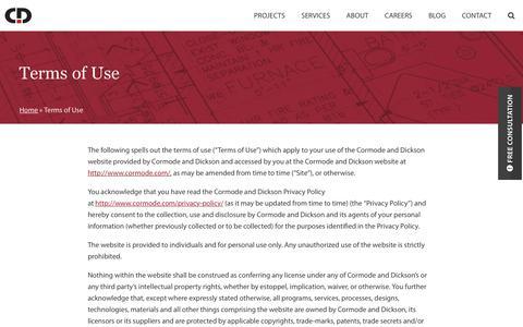 Screenshot of Terms Page cormode.com - Terms of Use | Cormode & Dickson - captured Feb. 1, 2016