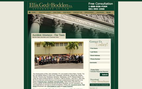 Screenshot of Team Page ellisandged.com - West Palm Beach Accident Attorney | Our Team - Firm Profile - captured Oct. 2, 2014