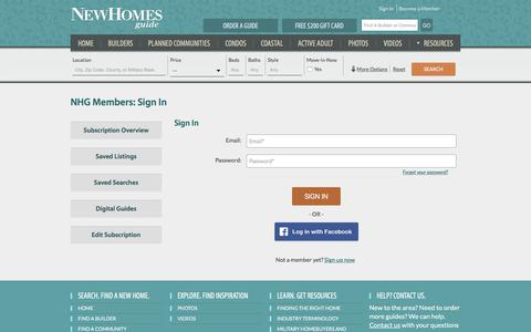 Screenshot of Login Page newhomesguide.com - New Homes Guide Member Section - captured Jan. 10, 2016