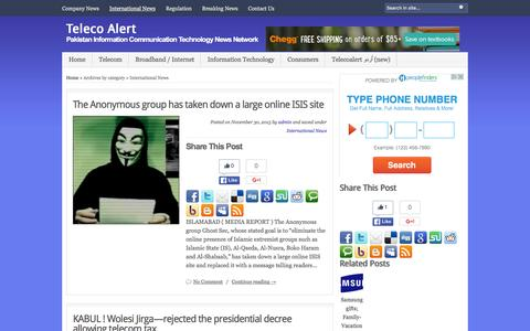 Screenshot of Press Page telecoalert.com - Teleco Alert   Archive   International News - captured Jan. 10, 2016