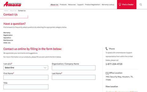 Screenshot of Contact Page amana-hac.com - Contact Us - captured Sept. 9, 2016