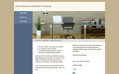 Screenshot of Home Page start-up-success.com - Double E Consulting - Start-Up-Success - captured Oct. 5, 2014