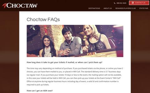 Screenshot of FAQ Page choctawcasinos.com captured Nov. 1, 2014