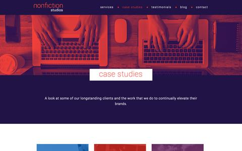 Screenshot of Case Studies Page nonfiction.ca - case studies – nonfiction studios - captured Oct. 18, 2018