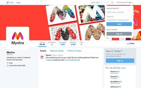 Screenshot of Twitter Page twitter.com - Myntra (@myntra) | Twitter - captured Sept. 30, 2015