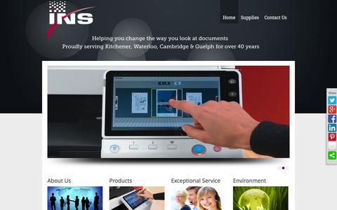 Screenshot of Home Page go-ins.com - Information Network Systems INS | Konica Minolta | Photocopiers | Neopost | Kitchener Waterloo - captured Oct. 6, 2014