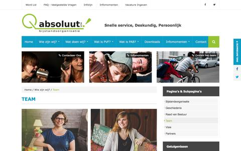 Screenshot of Team Page absoluutvzw.be - Team - absoluutvzw - captured July 27, 2016