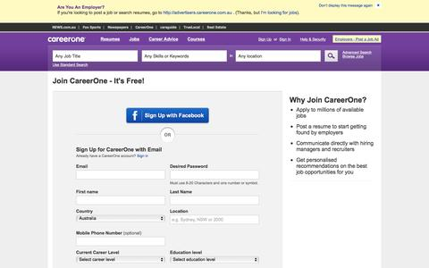 Screenshot of Signup Page careerone.com.au - Find Jobs: Search thousands of jobs now | CareerOne.com.au - captured Jan. 13, 2016