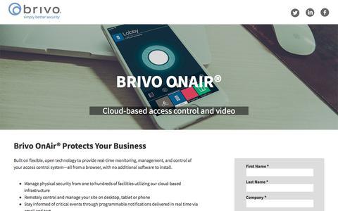 Screenshot of Landing Page brivo.com - Request a Brivo Demo - captured Sept. 11, 2017