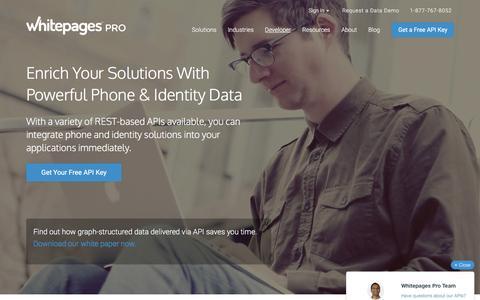 Screenshot of Developers Page whitepages.com - Developer Center | Whitepages Pro - captured Dec. 2, 2015