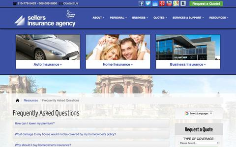 Screenshot of FAQ Page sellersinsuranceelp.com - Frequently Asked Questions - El Paso Texas - Sellers Insurance Agency, Inc. - captured Oct. 19, 2018