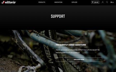 Screenshot of Support Page vittoria.com - Support | Vittoria Bicycles Tires & Wheels - vittoria.com - captured Sept. 24, 2018