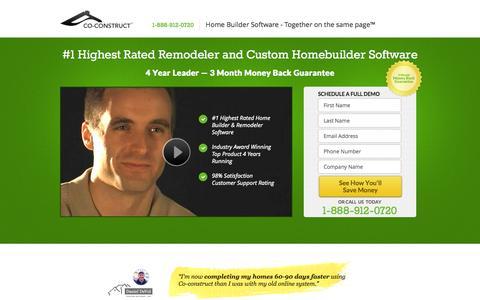 Screenshot of Landing Page co-construct.com - Remodeler Software - captured Oct. 27, 2014