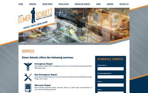 Screenshot of Services Page elmerschultz.com - Services | Elmer Schultz - captured May 17, 2017