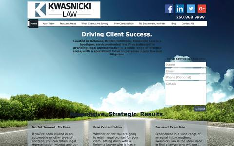 Screenshot of Home Page kwasnickilaw.com - Kwasnicki Law | Kelowna Litigation and Injury Lawyer - captured June 9, 2017