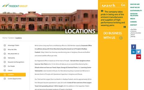 Screenshot of Locations Page tridentindia.com - Corporate Office in Ludhiana - Locations - captured Nov. 2, 2014