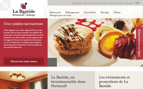 Screenshot of Home Page bastide.ca - Saint-Raymond de Portneuf | La Bastide Restaurant - Auberge - captured Oct. 4, 2014