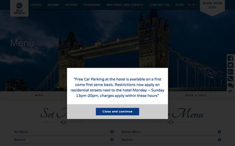 Screenshot of Menu Page palmhoteluk.com - Menu | BEST WESTERN Palm Hotel - captured Oct. 19, 2016