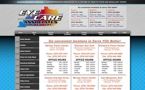 Screenshot of Hours Page ecak.com - Eye Doctor Western KY, Eyeglasses, Designer Frames - captured Oct. 3, 2014