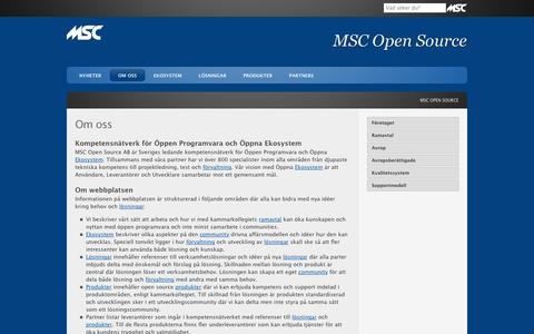 Screenshot of Home Page mscopensource.se - MSC Open Source - captured Oct. 4, 2014