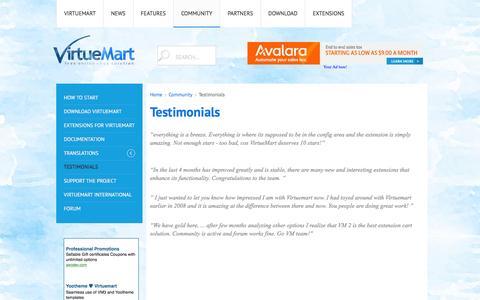 Screenshot of Testimonials Page virtuemart.net - Testimonials - captured Oct. 20, 2016