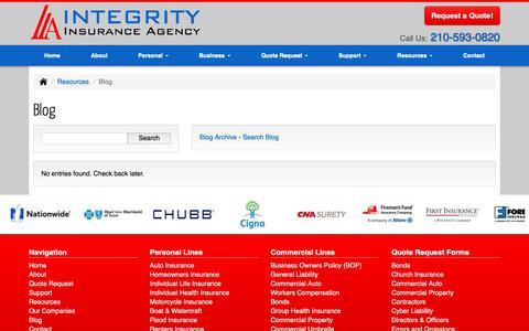 Screenshot of Blog integrityins.com - Blog | Integrity Insurance Agency, Inc. - captured Oct. 12, 2018