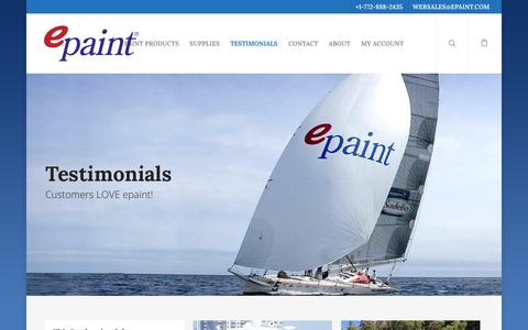 Screenshot of Testimonials Page epaint.com - ePaint.com   Testimonials - captured Sept. 30, 2018