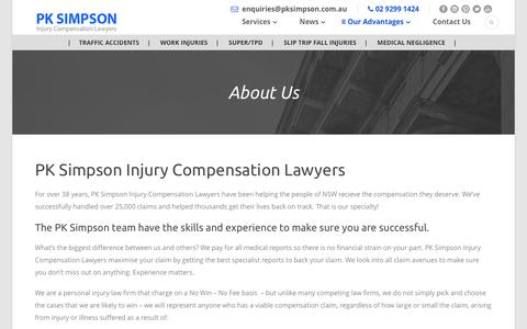 Screenshot of About Page pksimpson.com.au - About Us | PK Simpson Injury Compensation Lawyers - captured July 11, 2017