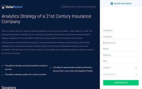 Screenshot of Landing Page datarobot.com - Analytics Strategy of a 21st Century Insurance Company - DataRobot - captured Sept. 19, 2018