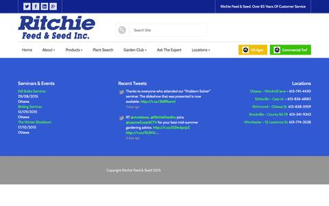 Screenshot of Products Page ritchiefeed.com - Featured Products - Ritchie Feed & Seed - captured Aug. 13, 2015