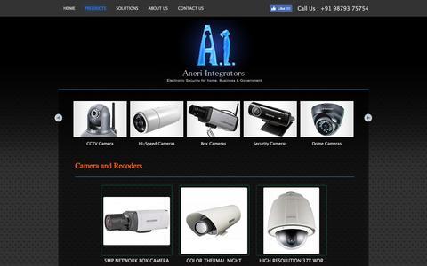 Screenshot of Products Page aneriintegrators.com - Aneri Integrators | CCTV Camera | Time Attendee & Access Control | Fire Alarm | Video Door Phones | Audio Systems - captured Aug. 23, 2016