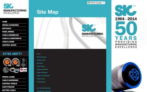 Screenshot of Site Map Page sicltd.com - SIC Ltd Site Map | Excellence in the manufacture, supply and distribution of Wiring Assemblies, Box Build and Panel Wiring. - captured Sept. 30, 2014