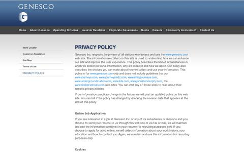 Screenshot of Privacy Page genesco.com - Privacy Policy | GENESCO - captured July 18, 2014