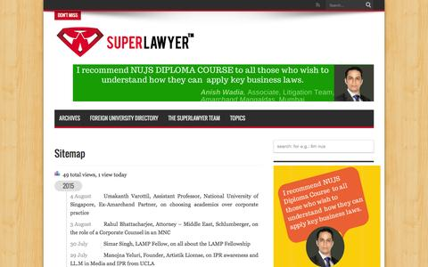 Screenshot of Site Map Page superlawyer.in - Sitemap | SuperLawyer – share your career experience and professional insights with law students and lawyers - captured Aug. 4, 2015