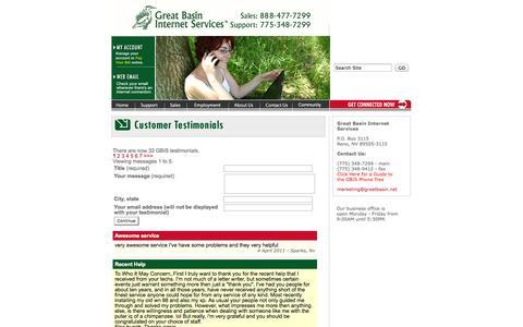 Screenshot of Testimonials Page greatbasin.net - GBIS Testimonials - captured Oct. 3, 2014