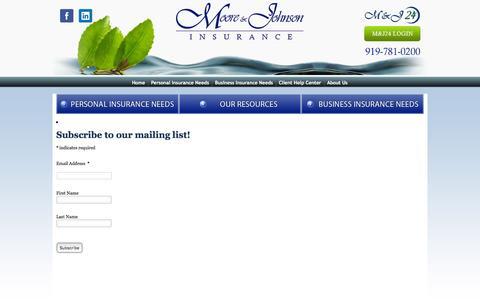 Screenshot of Signup Page mooreandjohnson.com - Newsletter Signup - Moore & Johnson Agency - captured Feb. 14, 2016