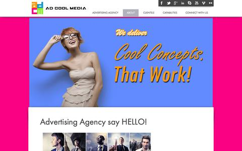 Screenshot of About Page adcoolmedia.com - Advertising Agencies in Singapore | Advertising Company | Ad Agency - We Deliver Cool Ideas, That Work! - captured Oct. 4, 2014