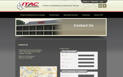 Screenshot of Contact Page itac.us.com - Contact Us - captured Feb. 4, 2016
