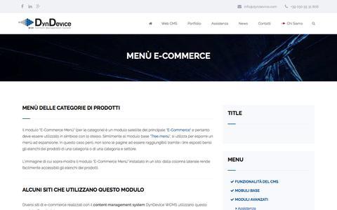 Screenshot of Menu Page dyndevicecms.com - Menù e-Commerce - captured Dec. 29, 2016